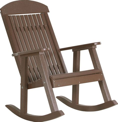 Outdoor Porch Chairs by Poly Furniture Wood Porch Rocker Chestnut Brown Outdoor