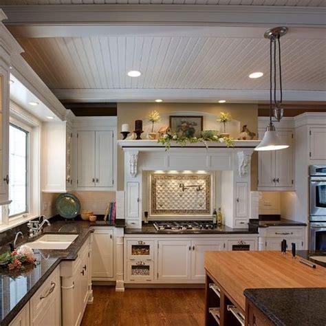 love  white wood panel ceiling kitchen pinterest