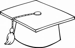 printable sheet of black and white outline of a graduation ...