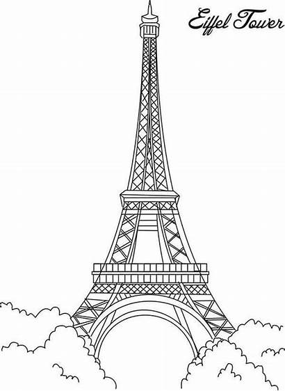 Eiffel Tower Coloring Pages France Printable Paris