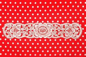 Red white polka dot background with lace | Stock Photo ...