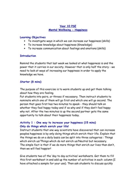 lesson  happiness  mental wellbeing teaching resources