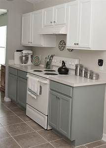 Two tone kitchen cabinets rustoleum cabinet transformation for Kitchen colors with white cabinets with rusted metal wall art