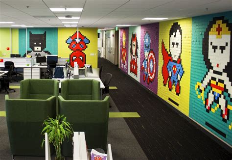 bureau post it office workers install 8 bit mural 8 024