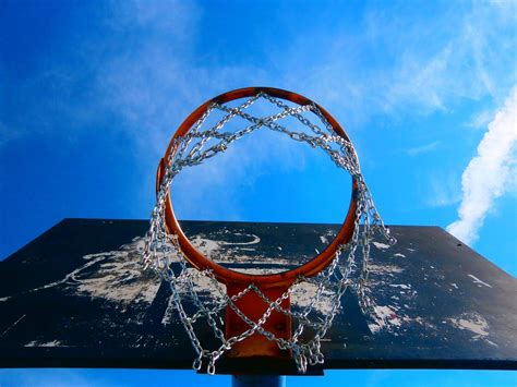 basketball sky worms eye view nets wallpapers hd