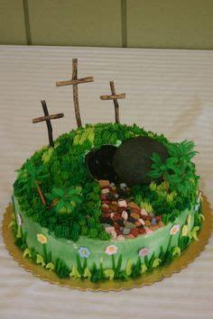 easter cakehe  risen  crosses   hill  empty