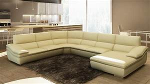 Divani casa 782c modern beige italian leather sectional sofa for Modern beige sectional sofa furniture