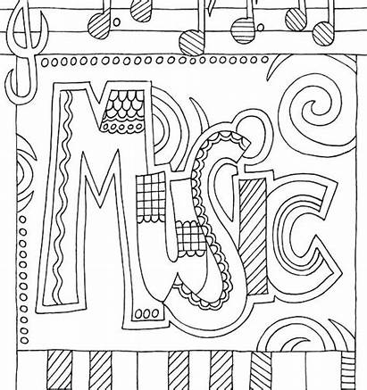 Coloring Pages Mandala Musical Printable Instrument Staff