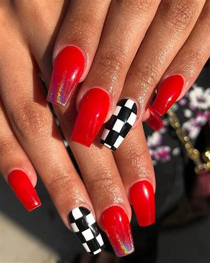 Nails Acrylic Glitter Nail Coffin Designs Checkered
