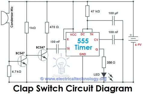 clap switch circuit  ic  timer  timer