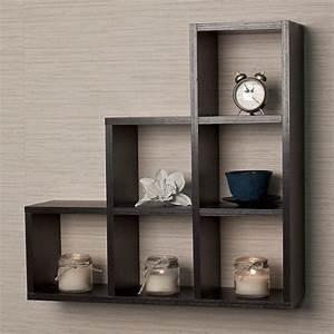 Black wood wall shelves display contemporary home decor