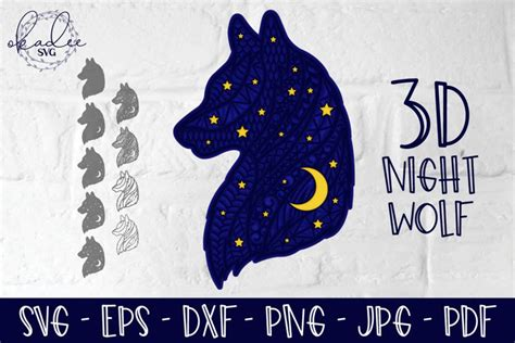 This free svg cutting file contains the following formats 3D Night Wolf, Layered Zentangle Wolf, Mandala SVG, Moon ...