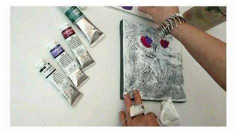 acrylmalerei florale motive mit struktur und dem