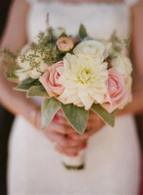 white  pink bridal bouquet  dahlias  roses