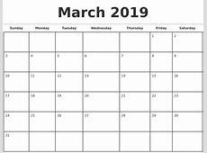 2019 Monthly Calendar Template printable calendar template