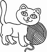 Yarn Coloring Cat Kitty Pages Play Kitten Kidsplaycolor Colouring Printable Drawing Books sketch template