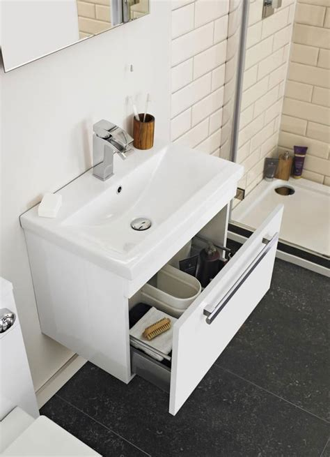 Lauren Design 500mm Gloss White Wall Hung Basin Cabinet