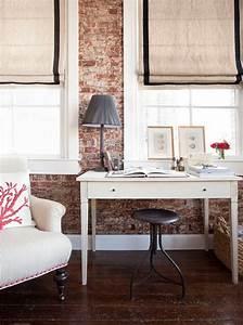 Schreibtisch Im Wohnzimmer Integrieren : ziegelwand in der wohnung integrieren extravagante ideen ~ Bigdaddyawards.com Haus und Dekorationen