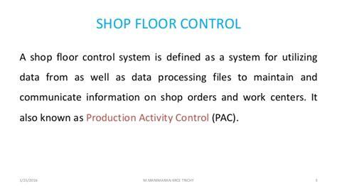 Unit Iv Shop Floor Control And Fms
