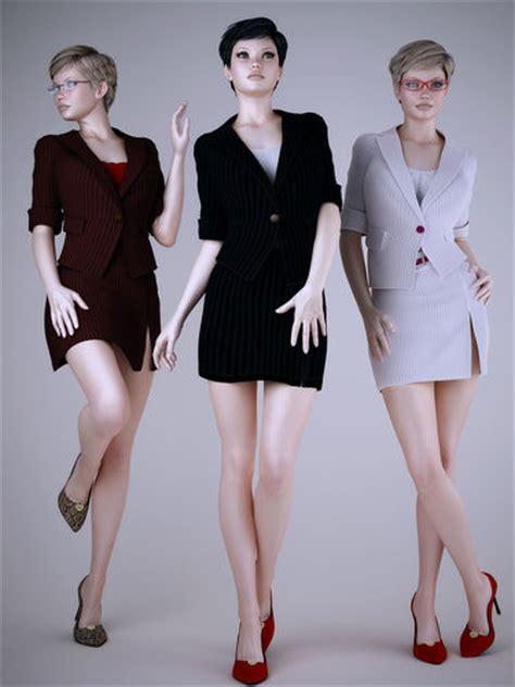 wear work uniforms office girl  model max obj fbx