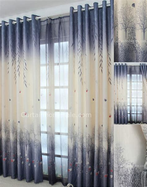 natural scenic tree  leaf grey blue pastoral print curtain