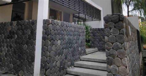 desain pagar rumah batu  eksterior rumah