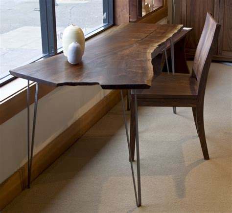 live edge console table metal legs live edge desk with hairpin legs the joinery