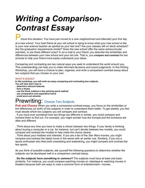 essay  compare examples college comparative thesis