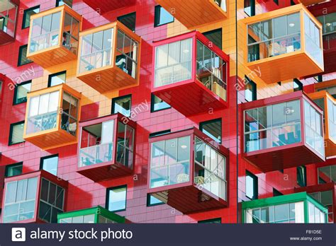 Colorful Residential Tower, Ting 1, With Balconies And