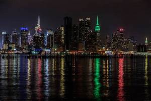 Wallpaper : city, cityscape, night, water, building ...