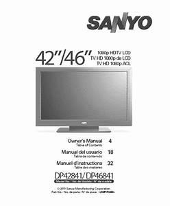 Sanyo Flat Panel Television Dp42841 User Guide