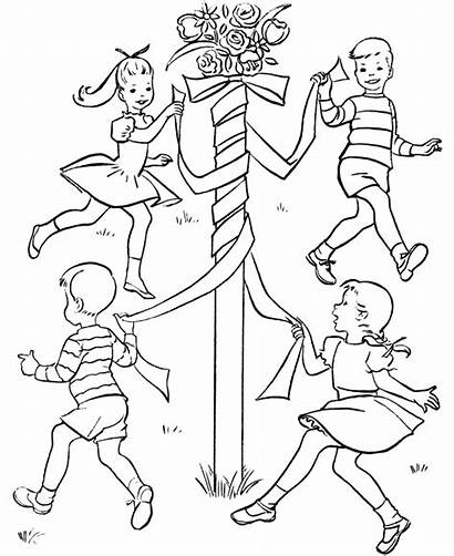 Coloring Spring Pages Sheets Dance Activity Maypole