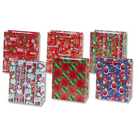 wholesale glossy christmas gift bag collection 6 assorted