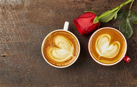 wallpaper love heart coffee roses bud cup red love