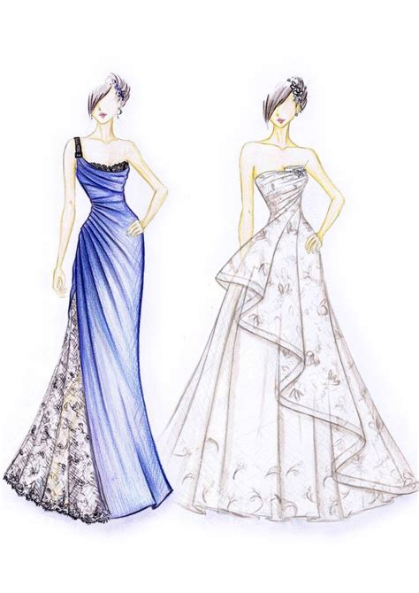 bridal  evening gown sketches fashion inspiration
