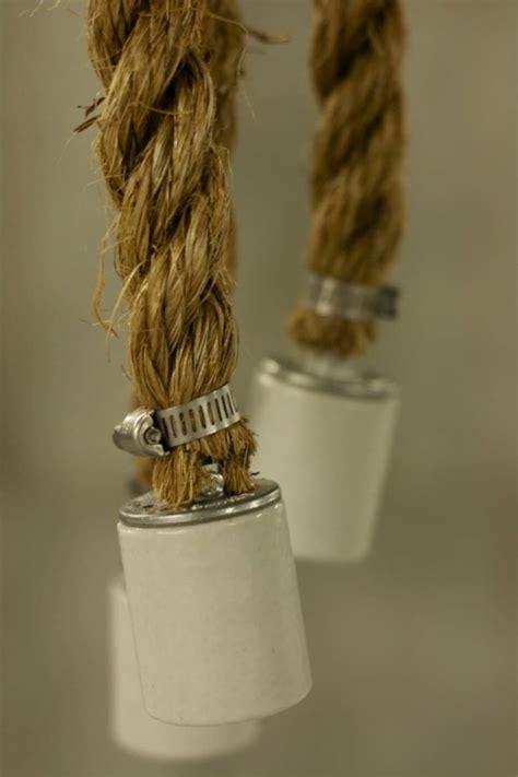 rustic industrial chandelier  rope id lights