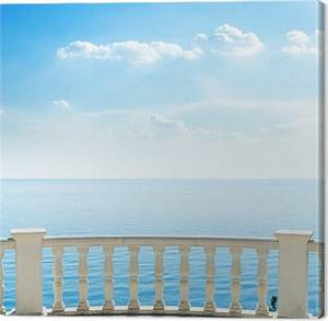 Tableaux Mer Et Plage : tableau sur toile balcon blanc sur la plage de la mer et les nuages dans le ciel pixers ~ Teatrodelosmanantiales.com Idées de Décoration
