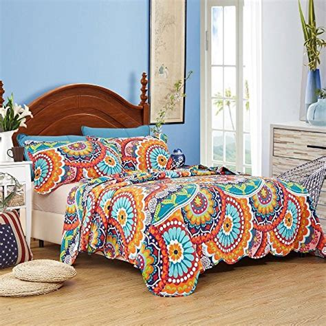 Colorful Coverlets by Lelva Colorful Bohemian Bedspreads Set Floral Print Boho