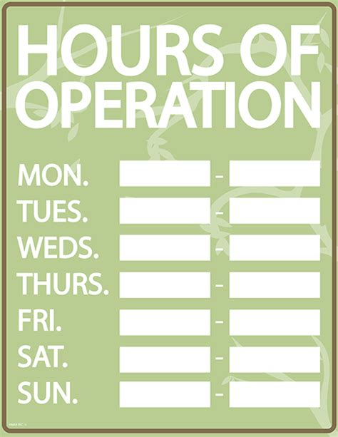 hours of operation template microsoft word business printables free office signs calendars org charts
