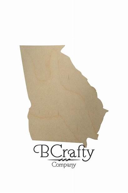 State Shape Georgia Wooden Cutout Cutouts Shapes