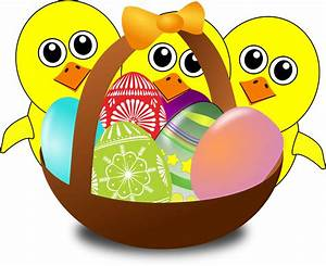 Clipart - Funny Chicks Cartoon with Easter eggs in a basket