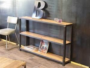 Console Bois Metal Industriel : console inspir e du style industriel en bois et m tal ~ Teatrodelosmanantiales.com Idées de Décoration