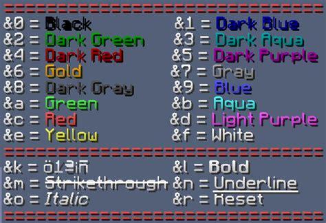 minecraft color id bukkit color codes minecraft