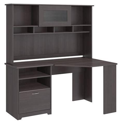 gray corner desk bush cabot corner desk with hutch in gray cab008hrg