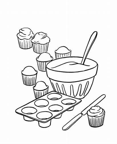 Coloring Cupcake Pages Mixer Completed Pan