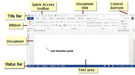 Microsoft 2010 Word Labeled Diagram by Interface Word Basics Jan S Working With Words