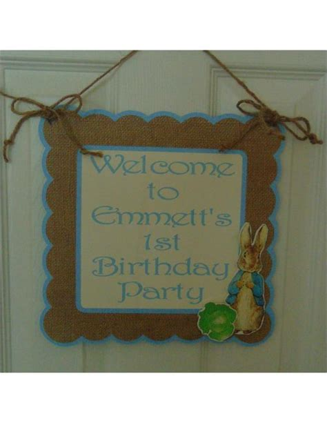 rabbit welcome door sign birthday baby shower new baby beatrix potter bunny 1st birthday