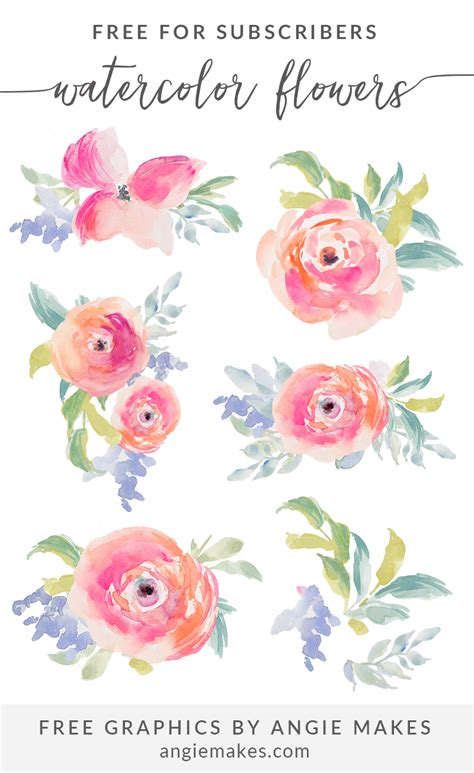 Free Flower Clipart Free Girly Graphics And Watercolor Clip Angie Makes