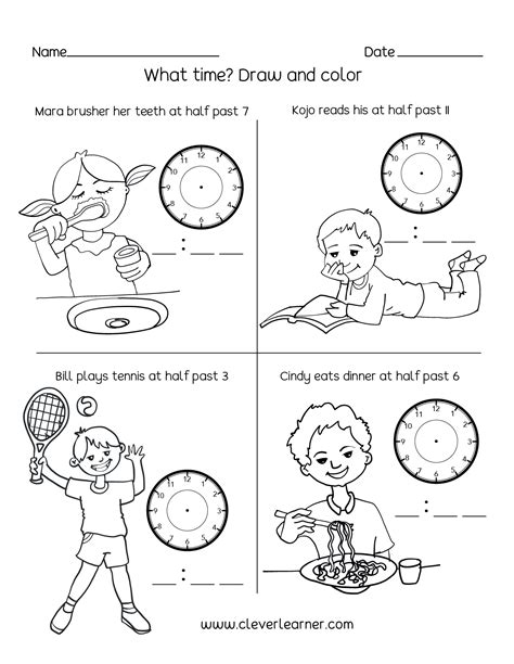 telling time    hour worksheets  st