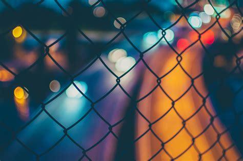 wallpaper fence city lights long exposure bokeh macro
